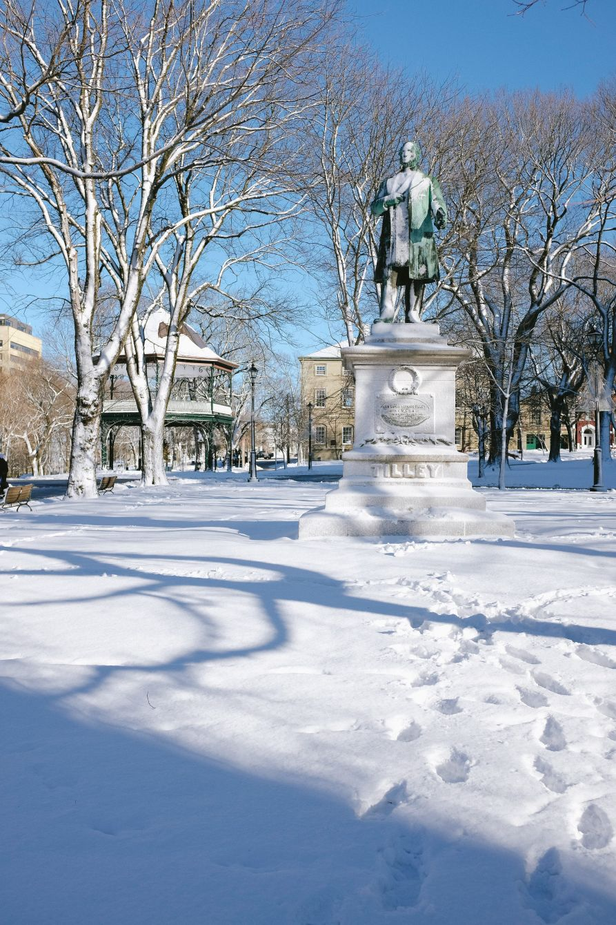 Click thumbnail to see details about photo - Tilley Statue in Snow Kings Square Photograph