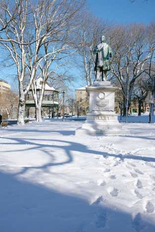 Tilley Statue in Snow Kings Square Photograph