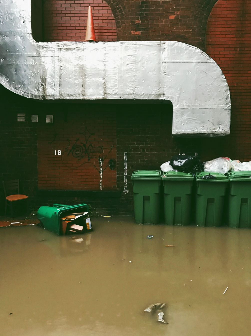 Click thumbnail to see details about photo - Flooded Alleyway Saint John Photograph