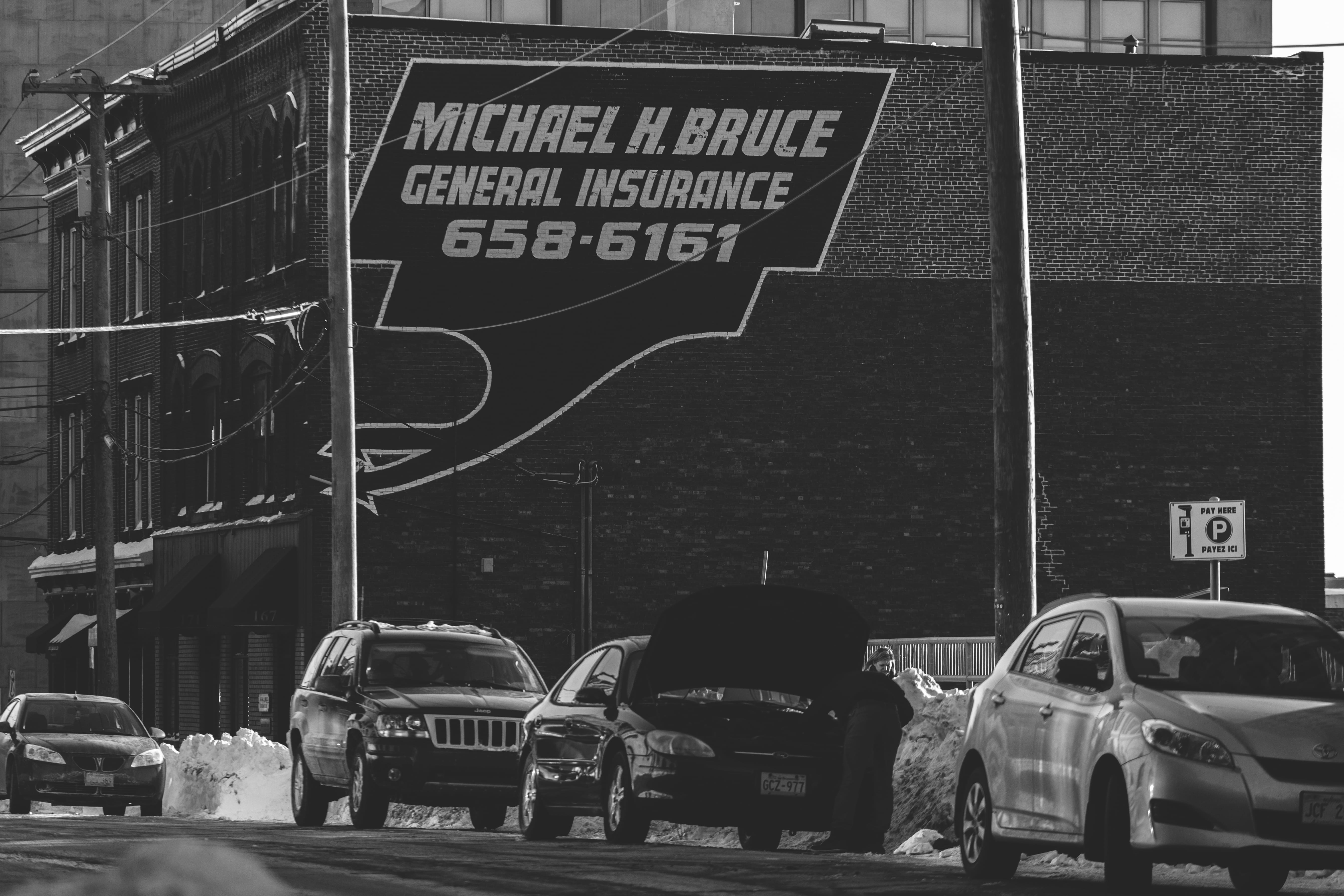 A photograph depicting Prince William Street Advertisements Bw