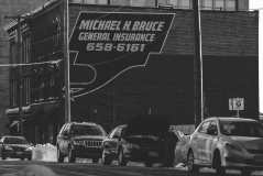 Prince William Street Advertisements Bw Photograph