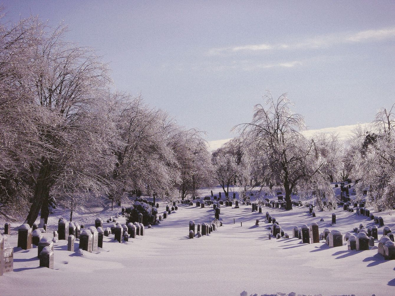 Click thumbnail to see details about photo - Saint John Cemetery Covered in Snow Photograph