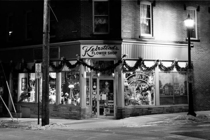 Click thumbnail to see details about photo - Saint John Keirsteads Flower Shop on Princess Bw Photograph