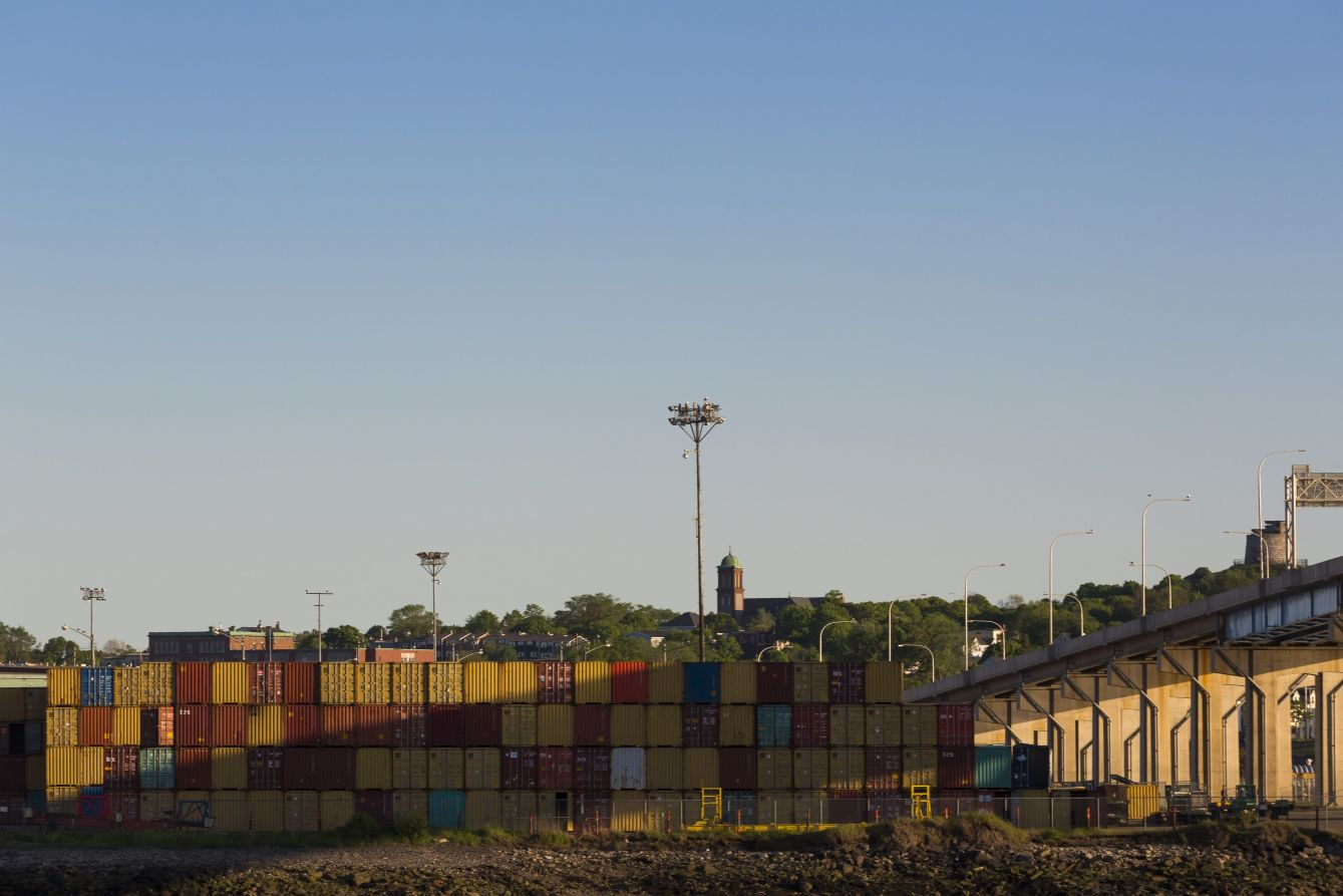 Click thumbnail to see details about photo - Saint John Port Containers at Golden Hour Photograph