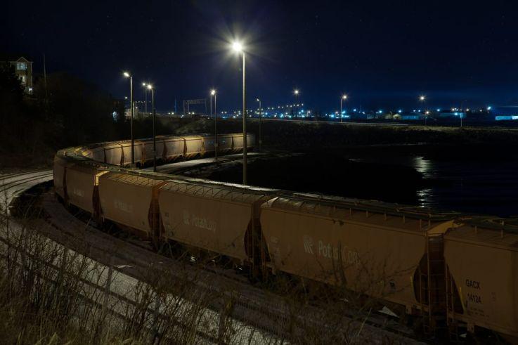 Click thumbnail to see details about photo - Saint John Potash Trains on Crown Street Photograph