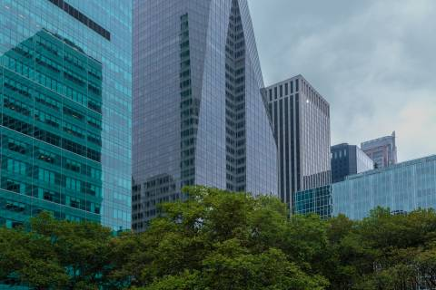 A photo of New York City Glass Buildings From The Park