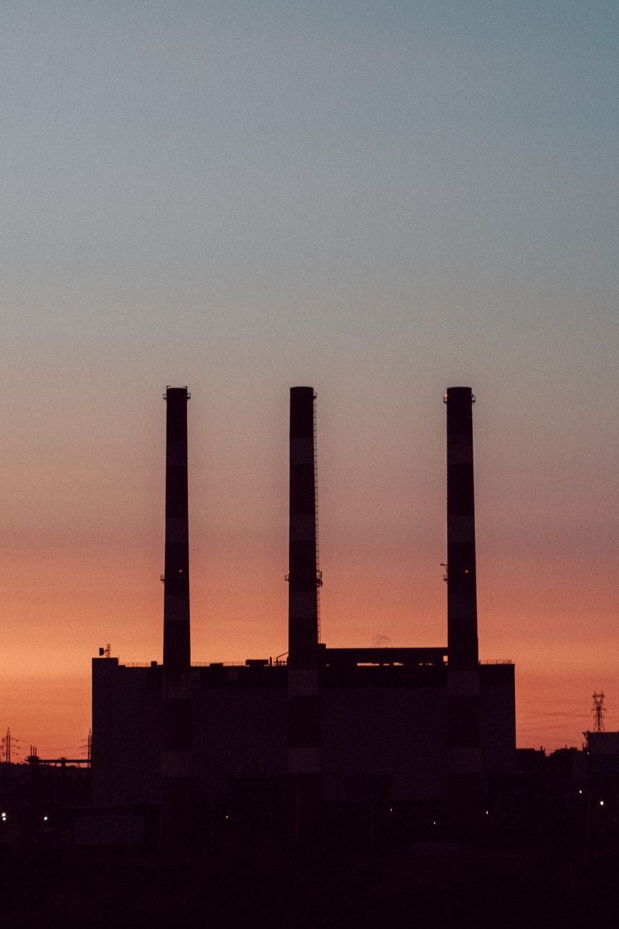 Click thumbnail to see details about photo - Pulp Mill Stacks at Dusk Saint John Vertical