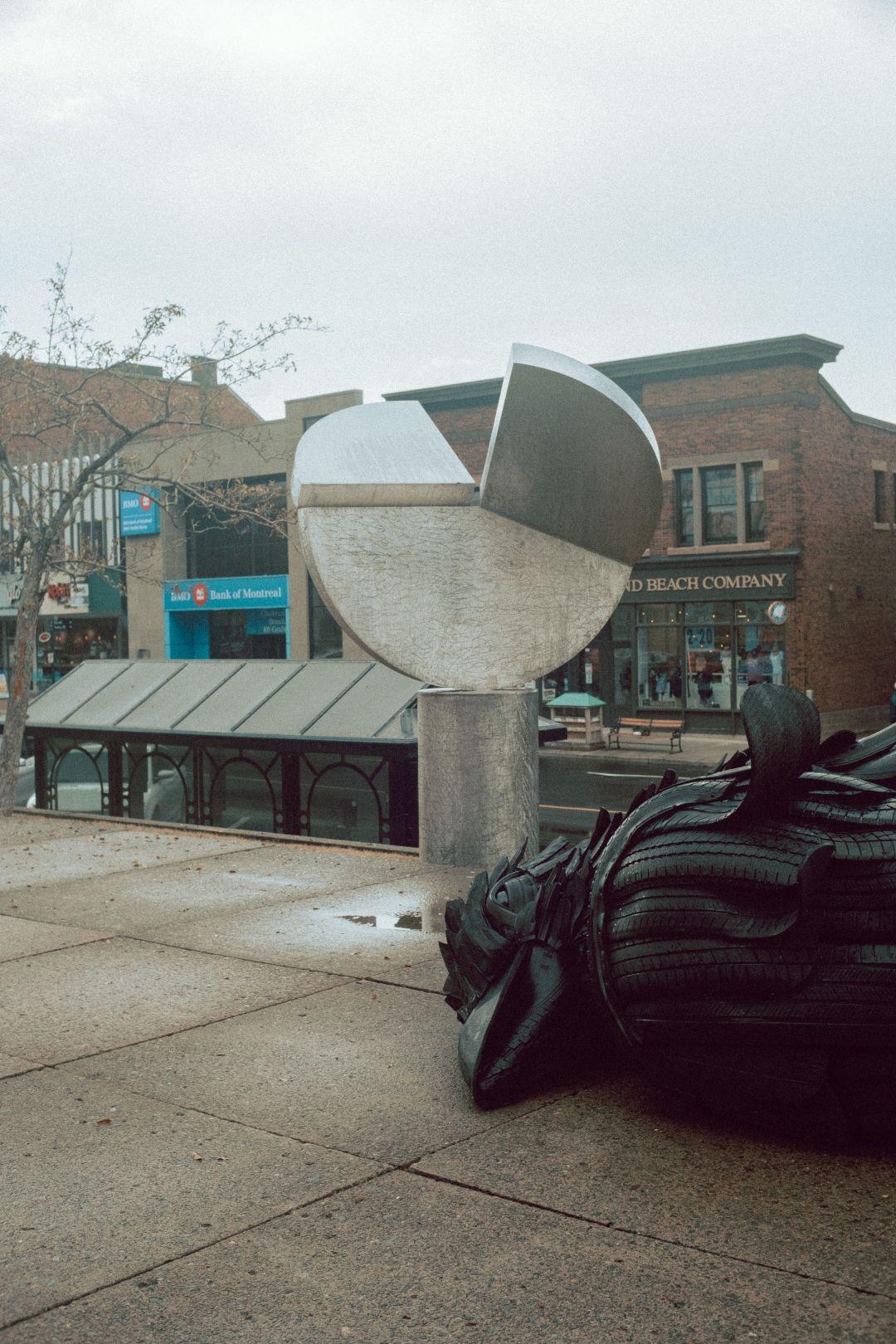 A photo of Tire Bird Art Sculpture PEI