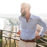 Michael Checkers modeling spring/summer menswear look in Colline Du Château, Nice, France.