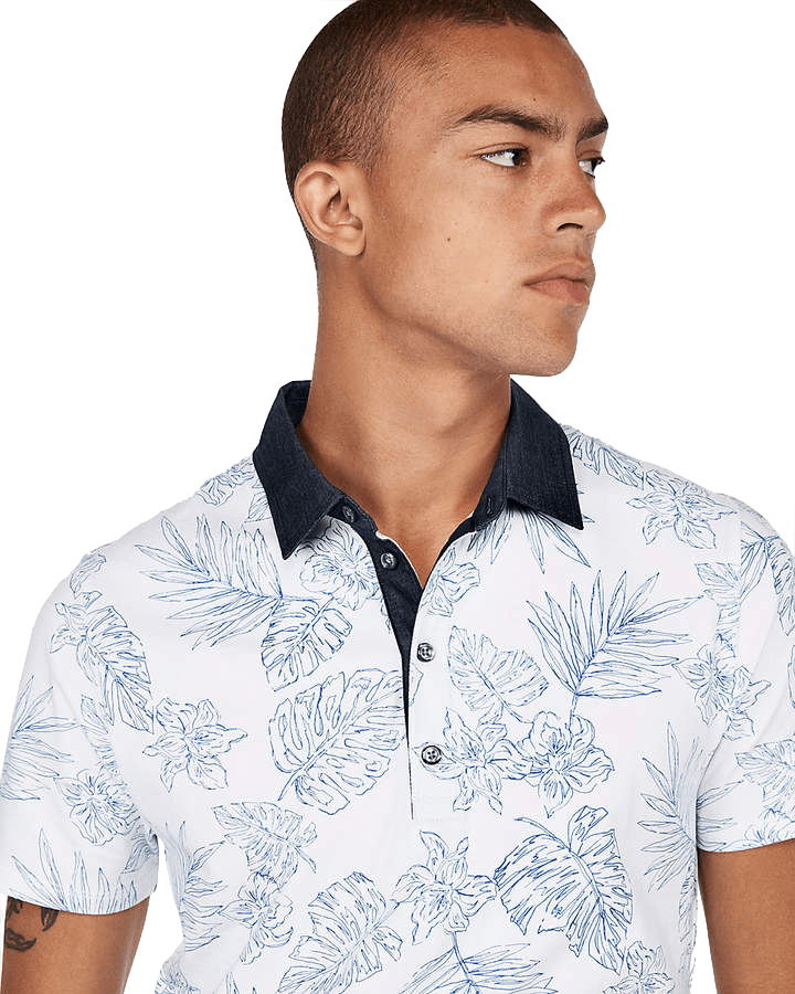 Express Floral Moisture-Wicking Performance Stretch Polo