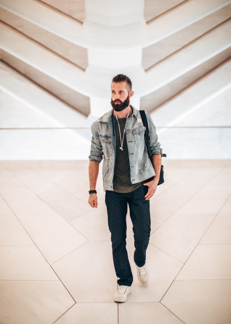 Michael Checkers street style blogger walking at the oculus in nyc