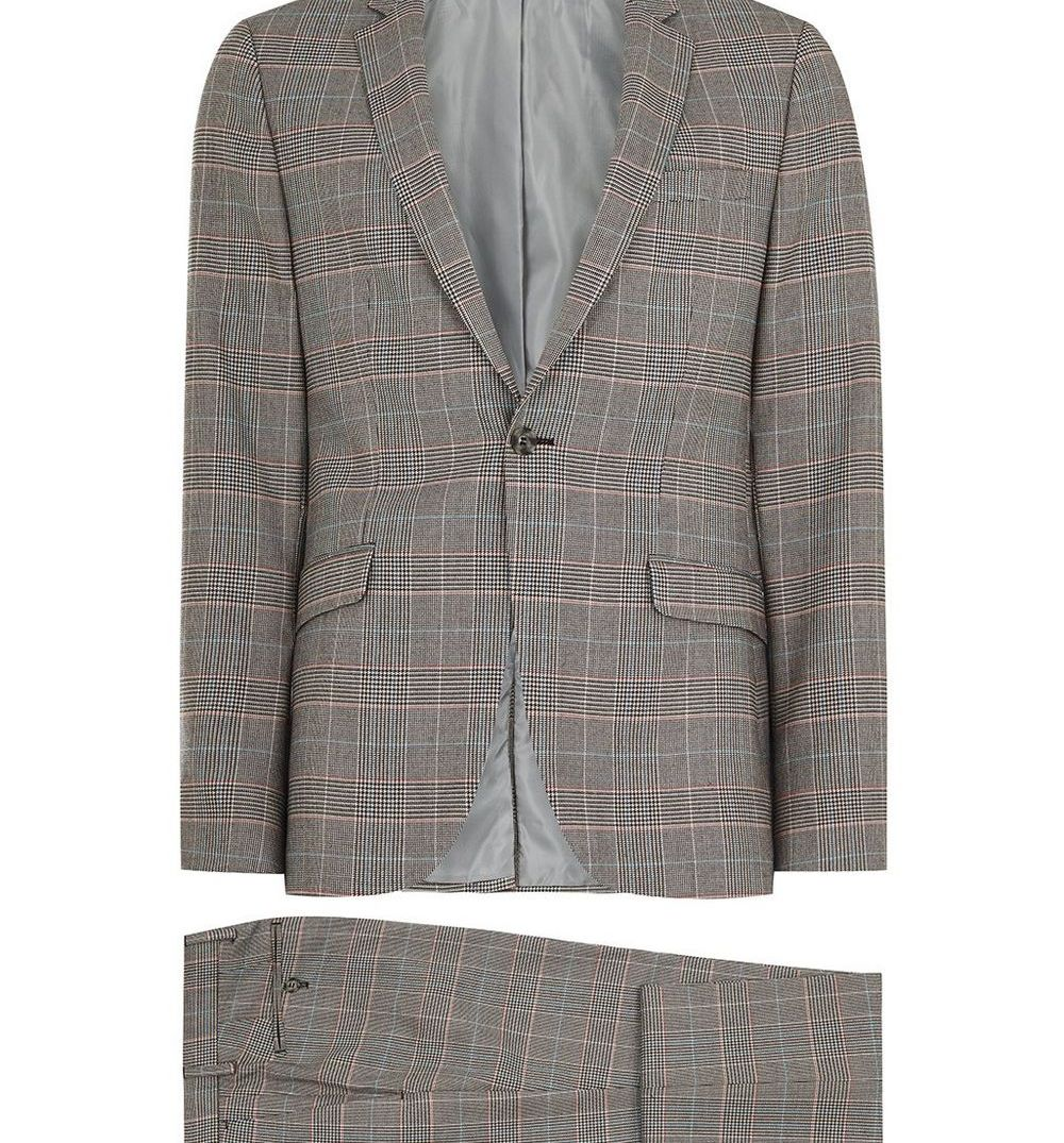 Topman Gray Check Ultra Skinny Fit Suit