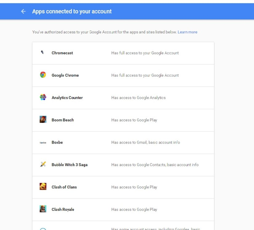 Google Permission screen