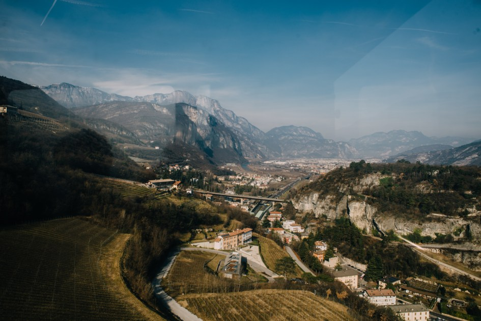 View from the cable car from Trento to Sardagna, a town at the top of the mountain.
