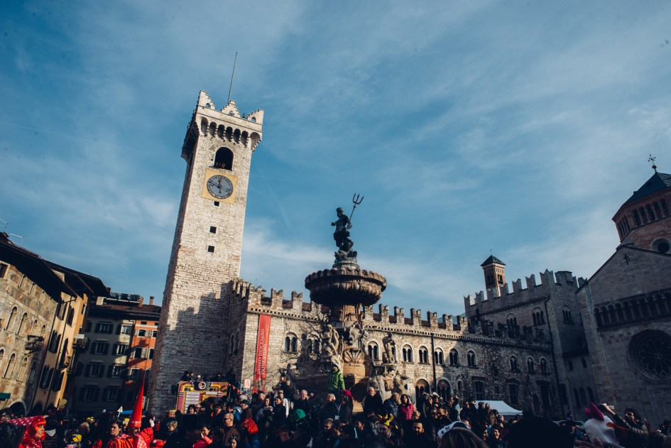 Piazza del Duomo in Trento, where we stumbled into a Carnevale parade.