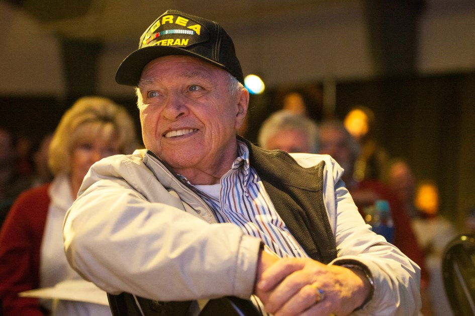 Braintree, MA – Nov. 8, 2016 – Martin Beatty, 82, of Weymouth, Massachusetts, reacts as United States presidential election results are reported on Fox News during the Massachusetts Trump-Pence Campaign victory party. Trump supporters gathered at the F1 Boston race track to cheer on their nominee as he was elected 45th president of the United States.
