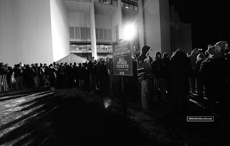 Students lined up outside Assembly Hall