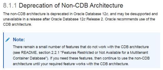 Deprecation Note non-CDB architecture