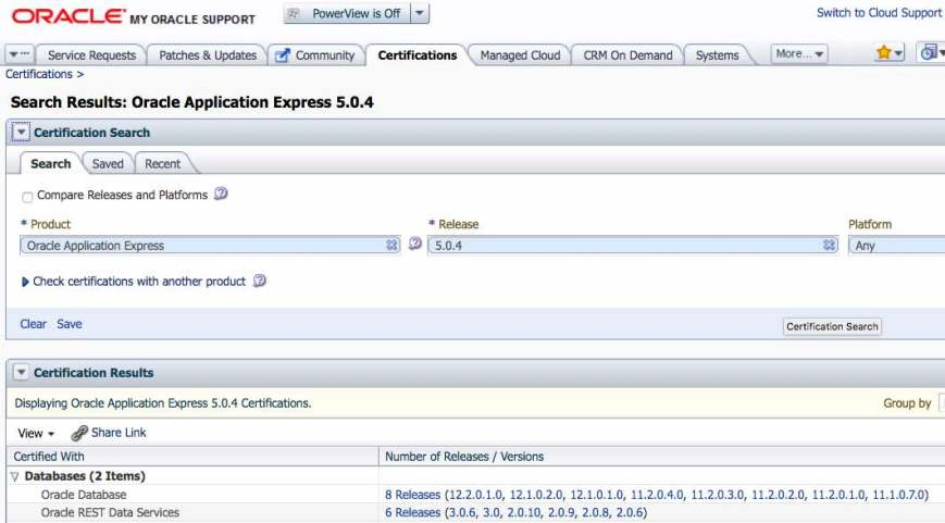 Oracle APEX - Certification MOS