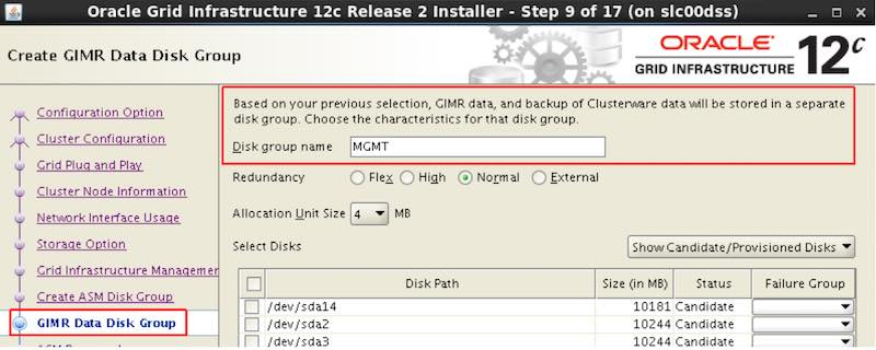GIMR DB - Own Disk Group in Oracle 12.2