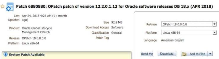 Patching Oracle Database 18.1.0 to 18.2.0 on premises