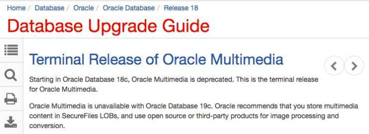 Oracle Multimedia is deprecated in Oracle 18c