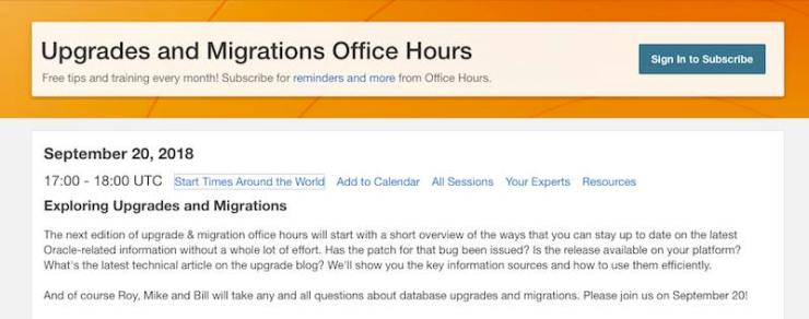 Office Hours: Upgrade and Migrations - September 20, 2018