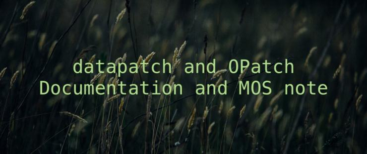 datapatch and OPatch documentation and MOS note