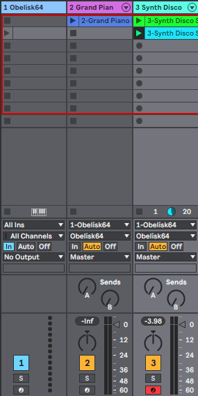 Ideal Obelisk and instrument settings. Obelisk midi track set to monitor In. Two different mini instrument tracks set to Obelisk64 instrument In and Obelisk64 instead of Pre FX or Post FX. One instrument track armed.