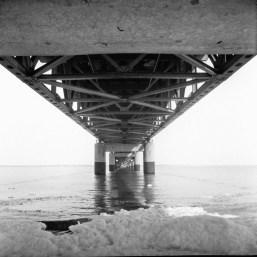 Beneath the Mackinac Bridge.