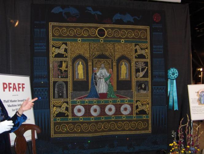 This quilt is a tribute to Tolkein by Sue Mcarty. This was one of the quilts inside the National Quilt Museum.