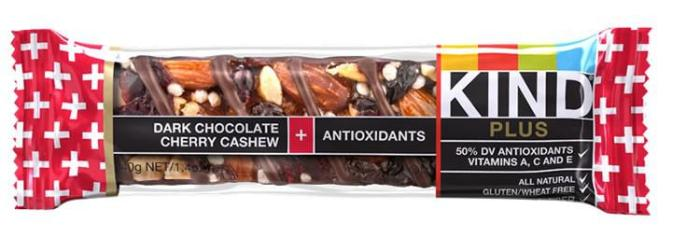 Dark Chocolate Cherry Cashew — Kind Bar. This bar is clearly real food. Both Vegan and Gluten Free, so other trail riders can always eat them. Tons of energy. Lots of taste. A bit crumbly, but that is solved by the unbearable sun turning it into a single mass.