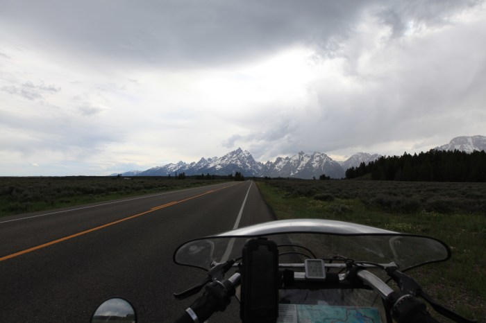 Persephone is excited about reaching the Tetons. --Grand Teton NP