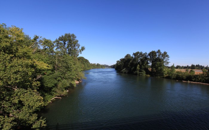 The Williamette River leading into Eugene, OR.