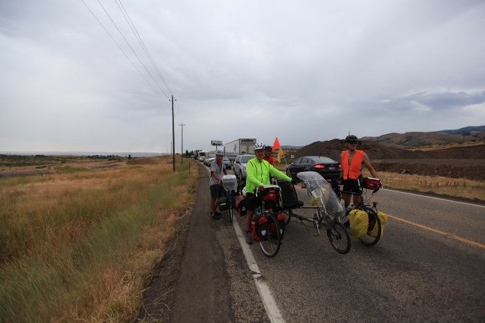 The Valkyries waiting for the pace care to take us through the one lane construction zone. --Mesa, ID.