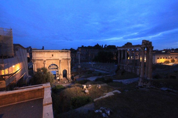 Roman Forum at night.