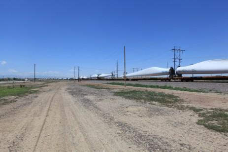 30 windmill blades on a train. --Pueblo, CO