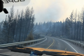 The smoke is intensifying over the road. --Ochoco Pass, OR.