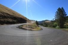 Switchbacks up Lamb's Grade road. -- Stites, ID.