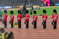 The Irish Guards announce the start of the Javelin Final (we were in amongst the coaches)