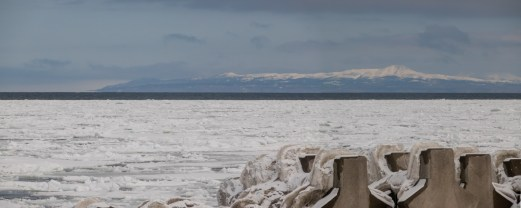 Notsuke is a sand spit, a bit like Spurn Point. On the seaward side the sea ice blows in from the Sea of Okhotsk.