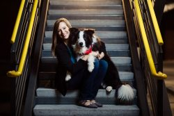 dog and mom brand freelancer portrait on atlanta steps