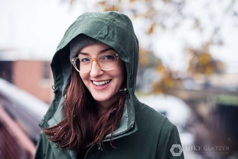 girl wears rain jacket for outdoor atlanta portrait session westside provisions