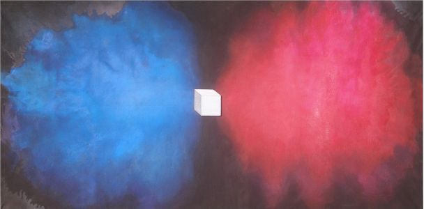 Big Bang in Blue and Red, 2013</br> acrylic on art board and canvas</br> $3800
