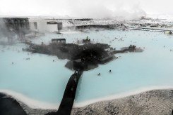 This photo almost encompasses the entirety of the Blue Lagoon thermal pool. Resort on the left, bar and other things in the center, power plant at the top. Photo by Mike Higdon
