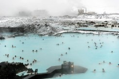 The geothermal power plant at the top feeds the Blue Lagoon with minerally geothermal water. Photo by Mike Higdon