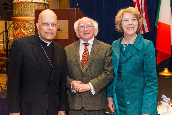 Cardinal Francis George with Irish President Michael D. Higgins and First Lady Sabina Higgins