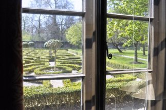The knot garden from the downstairs parlor.