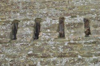 Remnants of the wooden floor joists