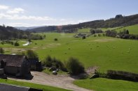 Looking south towards Ludlow along the valley of the River Onny